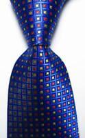 New Classic Checks Blue Red Yellow JACQUARD WOVEN 100% Silk Men's Tie Necktie