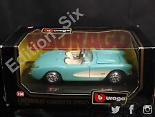 Burago 1:24 1957 Chevrolet Corvette Classic American Muscle Sports car Blue