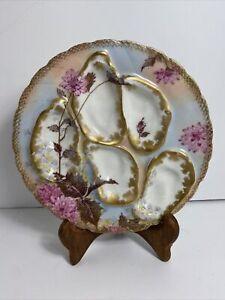 Fine Antique Haviland Limoges Oyster Plate Oyster Floral and Gold