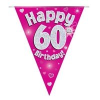 Pink Hearts Holographic Happy 60th Birthday Bunting | Flag Banner | Decoration