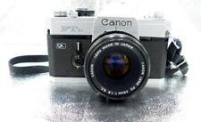 Canon Ftb Ql 35mm Slr Film Camera with Canon 50mm f/1.8 Lens. Blk & Alum