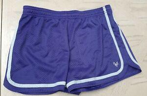 Justice Girls Mesh Size 16 Athletic Shorts Purple Mesh Elastic Waist Polyester