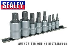 """Sealey 8 Piece Spline Socket Bit Set  1/4"""", 3/8"""" & 1/2""""Square Drive AK6214"""