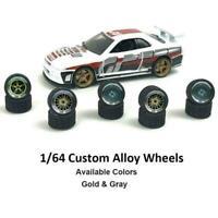 1pc 1:64 Scale Alloy Wheels Brake Caliper Rubber Tires Wheel modification M A8H7