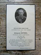IMAGE MORTUAIRE : Jacques SEMBEL - 1960