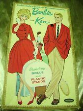 Vtg Paper Dolls 1962 Barbie Ken w/Travel Box Whitman Orig. 1960s Ultra Rare!