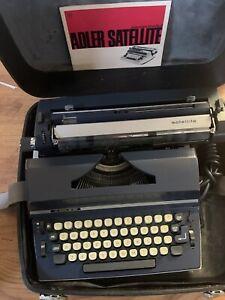 Vintage Electric Blue Adler Satellite 2001 Typewriter With Manual Case & Key
