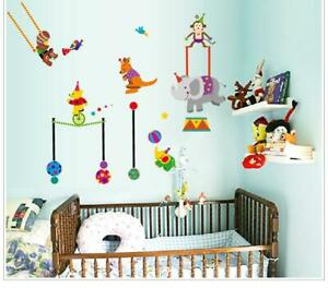 Zoo Circus Animals Wall Stickers, Peel & Stick, Removable, High Quality PVC