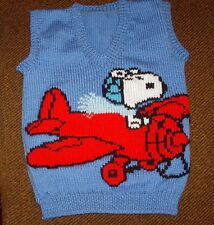 SNOOPY IN PLANE VEST NEW HAND KNITTED SIZE 4/5