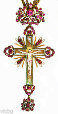 LARGE Antique 18th Century Russian Pectoral Reliquary St. Andrew Cross Ruby Gold