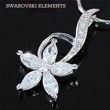 Bijou femme Collier chaîne pendendif fleur pétales zirconium Swarovski® Elements