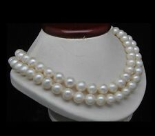 """Double Strand 18""""19"""" 10-11MM AA+ Fresh Nearl Round Water White Pearl Necklaces"""