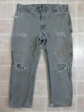 Used/Dirty DICKIES Green PANTS Mens 38x29 Cell Phone Pocket Canvas Punk Holes