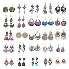 Vintage Bohemian Ethnic Style Design Multicolor Beads Tassel Drop Women Earrings