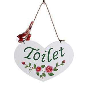 Bedroom Toilet Room Wooden Home Hanging Sign Flower Door Ornament JA