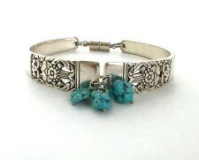 "Coronation 1936 spoon bracelet antique jewelry Howlite Turquoise 8.25"" XL"