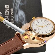 Men Military Decoration Quartz Wrist Watch USB Cigarette Lighter Windproof New