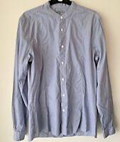 ALL SAINTS Grandad Shirt Pale Blue Fine Stripe S Small Men's Collarless / b19