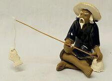 Vintage Fishing Chinese Mudman Figurine mud clay