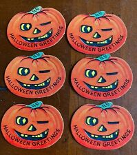 6 Vintage Halloween Party Gift String Hang Tags, Winking Jack O Lanterns, Nos