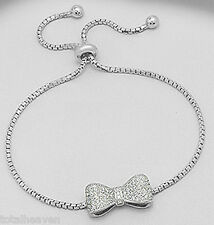 "6-9"" (23cm) Solid Sterling Silver Sparkly Bow Bracelet 8mm wide PRETTY & GIRLY"