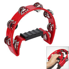 In Box Red or RED Half Moon Percussion Tambourine Shaker Instrument New