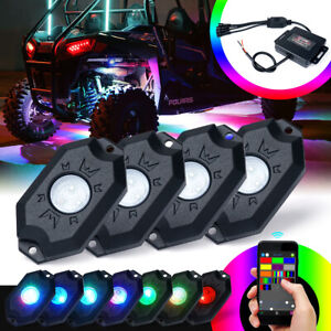 4 Pods RGB LED Rock Lights Underglow Neon Lights Kit Bluetooth APP ATV UTV Truck