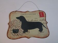 Heavy Metal DACHSHUND on French Postcard SIGN Dog Wall Door Hanging Hound