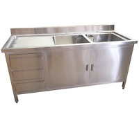 1500mm x 700mm COMMERCIAL STAINLESS STEEL DOUBLE SINK CUPBOARD AND DRAWERS LHD