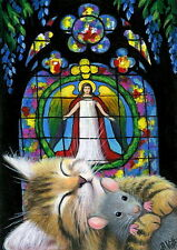Kitten cat mouse angel stained glass window Christmas night OE aceo print art
