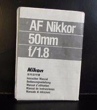 Used Nikkor AF 50mm f1.8 Lens Guide Owner Manual O401410