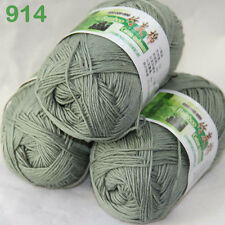 3 balls×50g Super Soft Natural Smooth Bamboo Cotton Yarn Knitting Olive 914