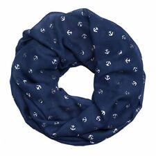 Loop mit silbernen Ankern in blau aus Viskose Loopschal leicht Damen Halstuch