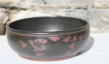 Unusual Large Studio Pottery Fruit Bowl Signed Flower Art Pottery Dish Date 1983