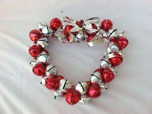 "10"" Metal Heart Jungle Bell Red  & Silver with  Metal Silver Ribbon"