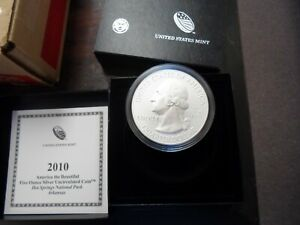 2010-P - 5 Oz Silver Coin Hot Springs America The Beautiful with Box & COA