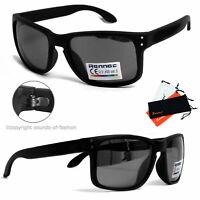 Rennec Sonnenbrille Schwarz Matt UV400 Rechteckig Nerd Look Sportlich 14A OR