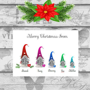 Personalised Christmas Cards x 10 Free Envelopes Family Friends Gnomes 75