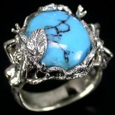 925 STERLING SILVER BLUE TURQUOISE RING SIZE Q