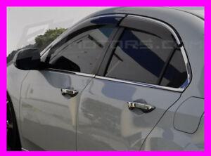 Acura TSX 09 10 11 12 13 14 JDM VIP Window Rain Visors Chrome Trim W// Bracket