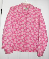 APPLESEED'S QUILTED PINK WHITE FLORAL JEAN STYLE BUTTON FRONT SHORT JACKET 14 M