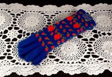 Hansen NOS Winter Gloves Costume Knits Creslan Acrylic Blue w/ Red Flowers Med.
