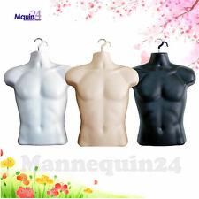 3 Male Mannequin Torso Set - White Flesh Black Men'S Plastic Hanging Body Forms