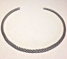Sterling Silver Women's Choker Necklace Vintage Collar Braided Torque Celtic 925