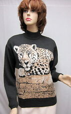 St John Knit COLLECTION Grey Leopard Print TOP SZ P 4 6