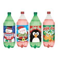 6 x Noël SODA GAZEUZE POP bouteille COUVRES AUTOCOLLANT lutin de Père Noël Renne