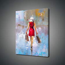 FASHION LADY MODERN OIL PAINTING STYLE PHOTO CANVAS PRINT WALL ART PICTURE