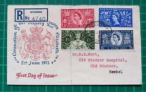 1953 QUEEN ELIZABETH CORONATION FDC WINDSOR REGISTERED OVAL