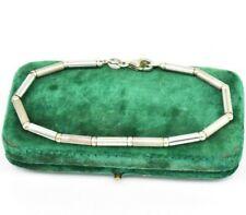Vintage Sterling Silver Bracelet plain Beaded Stylish 7 inch Art deco gift #O918