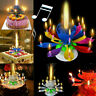 Magic Lotus Flower Candle Birthday Cake Decoration Blossom Musical Rotating Gift